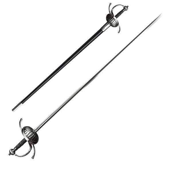 Ribbed Shell Swept Hilt Rapier, Leather Scabbard