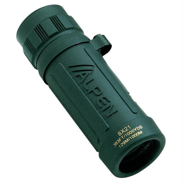8x21 Monocular Green Rubber Covered