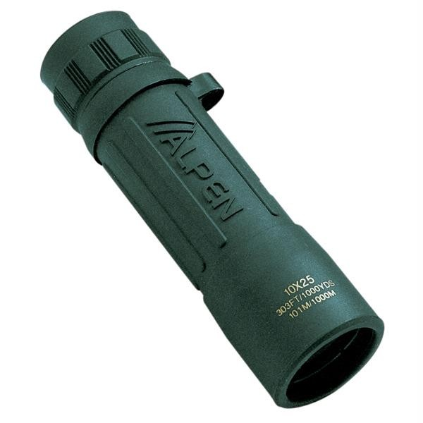 10x25 Monocular Green Rubber Covered