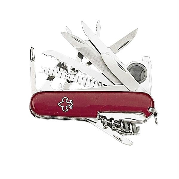 Pocket Multi Tool, Red Handle, 17 Implements, w/Sheath