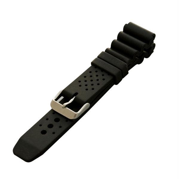 Silicone Strap, Brushed S/S Hardware, Black