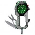 Knife Clip, Green Dial, Black/Gray Body, Carabineer Clip